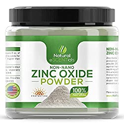 Natural Zinc Oxide Powder - Non Nano and Uncoated - Baby Safe, Cosmetic Grade Fine Powder - FREE: Recipe eBook
