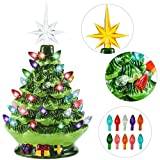 Joiedomi 9.5' Ceramic Christmas Tree with Gift Box, Prelit Tabletop Christmas Tree with...