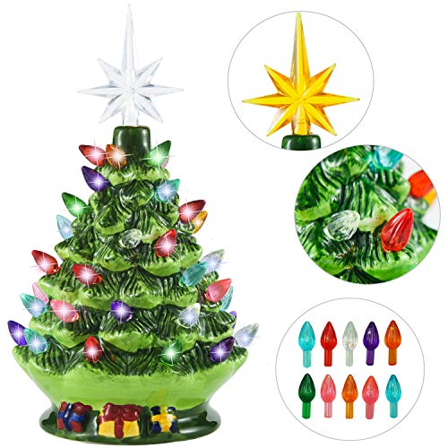 Joiedomi 9.5' Ceramic Christmas Tree with Gift Box, Prelit Tabletop Christmas Tree with Extra Yellow Star Topper & Bulbs for Best Desk Decoration