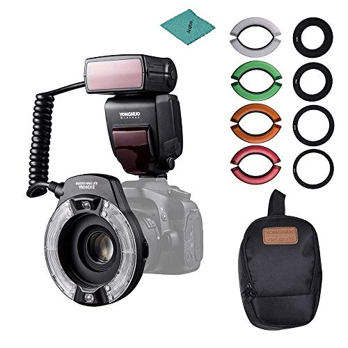 Andoer YN14EX II Macro Ring Flash Light Kit with Large Size LCD Display Adapter Rings Color Temperature Filters Hot Shoe Mount Compatible with Canon DSLR Cameras