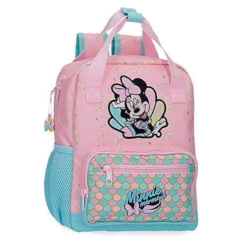 Disney Minnie Mermaid Mochila Preescolar Adaptable a Carro Rosa 23x28x10 cms Poliéster