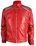 MJ Beat it Michael Jackson Leather Jacket RED 100% Real Leather, XL