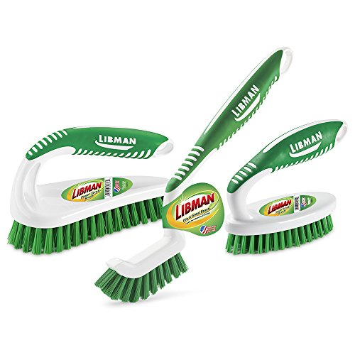 Libman Scrub Kit: Three Different Durable Brushes for Grout, Tile, Bathroom, Kitchen. Easy to Handle, Strong Fibers for Tough Messes – Family Made in the USA, Green White