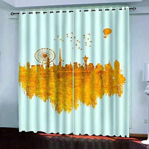 MMHJS Cortinas De Impresión Digital Puesta De Sol En 3D, Modernas Y Simples, Sala De Estar, Dormitorio, Cortinas Opacas, Poliéster, Tela Impermeable, Cortinas Verticales (2 Piezas)