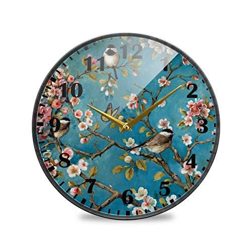 Jacque Dusk Reloj de Pared Moderno,Ave Albaricoque Flor Mariposas Árbol De La Vida,Grandes Decorativos Silencioso Reloj de Cuarzo de Redondo No-Ticking para Sala de Estar,25cm diámetro
