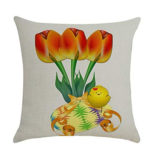 BIBOKAOKE Funda de cojín de Pascua de lino multicolor impresa decorativa, funda de cojín para decoración del hogar y el sofá, 45 x 45 cm