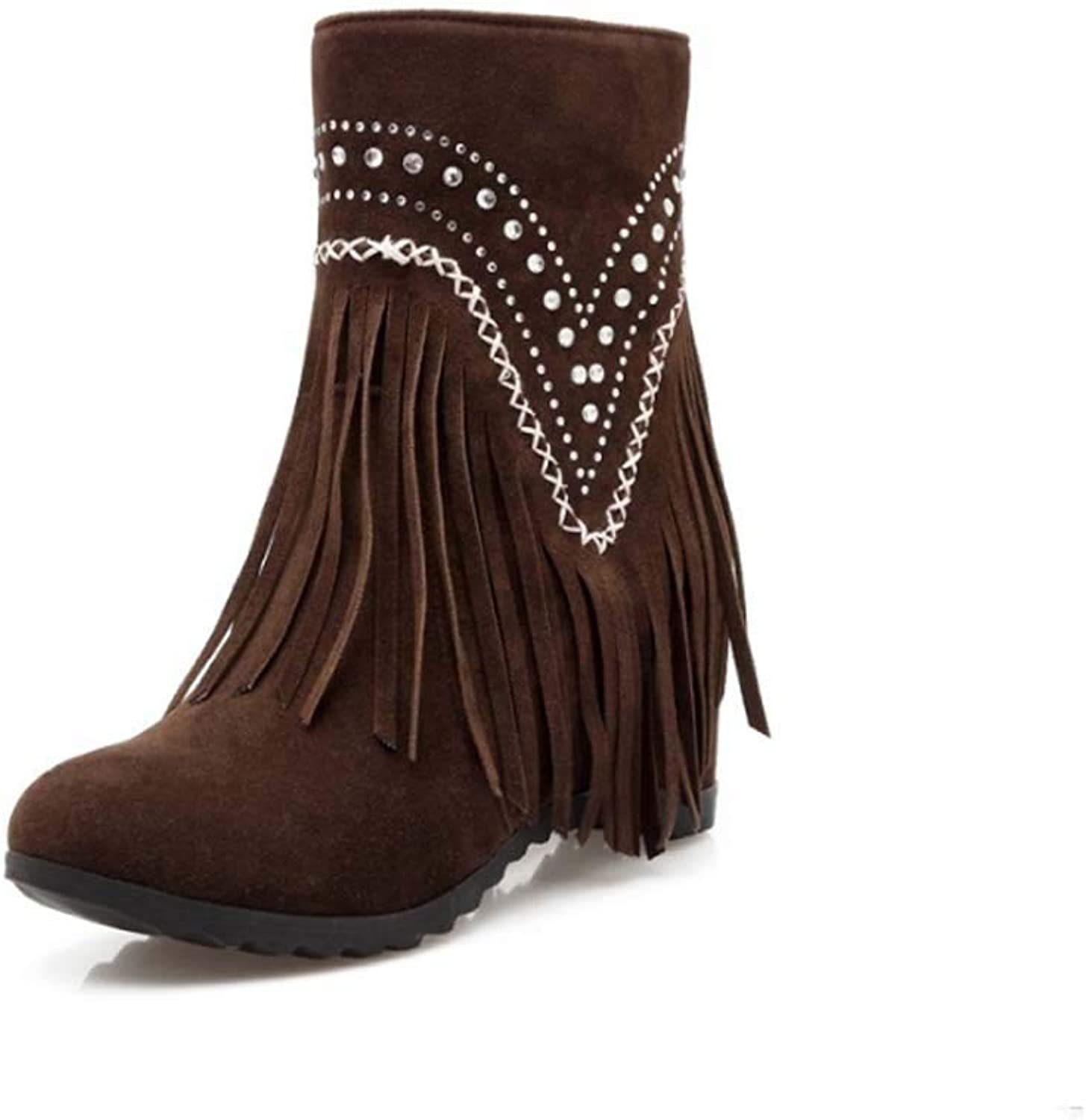 Winter Boots Women Heels, Ladies shoes Fashion Ankle Solid Fringe Bootie Short Indoor Outdoor Ankle Booties Short Boots,Brown,43EU