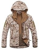 Chaqueta táctica con capucha para hombre Kelmon, chaqueta, Manga Larga, Hombre, color Desierto, tamaño X-Large