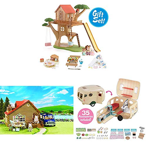 Calico Critters Outdoor Set, Dollhouse Playset Featuring 2 Unique Environments with Vehicle and Camper