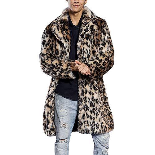 Writtian Faux Pelzmantel Herren Fell Mantel Plüschjacke Wollmantel Revers Leopard Drucken Wintermantel verdickt Wärmejacke Cardigan Parkas Trenchcoat