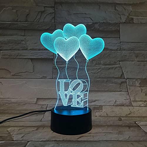 Lámpara Led Luz de noche Amor para mamá Atmósfera Lámpara de sensor de escritorio Reloj despertador Base Regalo para el día de la madre