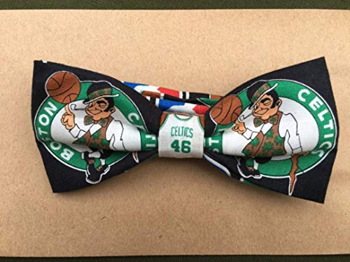 Boston basketball themed handmade bow tie adjustable
