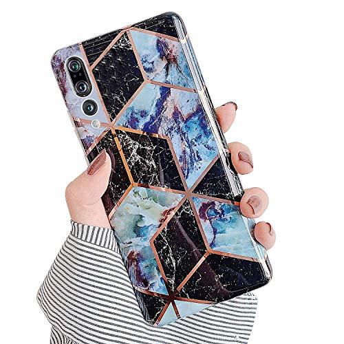 Urhause Kompatibel mit Huawei P20 Pro Hülle TPU Silikon Bunt Schutzhülle,[Marmor Muster Silikonhülle] Hülle Gemalt,Ultra Slim Durchsichtig mit Muster Bumper Stoßfest Hülle,Dunkelblau