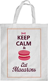 Keep Calm & eat macarons Printed Shopping bag, Medium Size