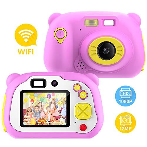 Pancellent Cámara para niños para niñas y niños, WiFi Sharing 1080P HD Videocámara Digital con cámaras de Doble Lente con Carcasa de Silicona Suave para Jugar al Aire Libre (Rosa)