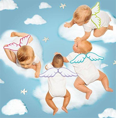 可愛い 汗取りパッド 5枚セット 天使の羽 綿100% 4重ガーゼ ベビー 赤ちゃん エンジェル 快適 青 緑 紫 黄 ピンク