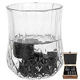 N#A Juego de Piedras de Whisky, con Caja de Madera Juego de Piedras de Whisky, Granito, 8 Piezas, fácil de Limpiar para Vino de Whisky