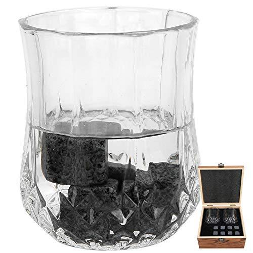 Juego de Piedras de Whisky, Juego de Piedras de Whisky Reutilizables y fáciles de Limpiar, Granito con Caja de Madera para el hogar