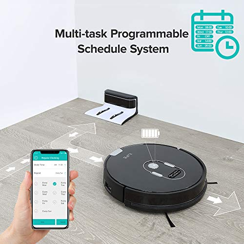 ILIFE A7 Robotic Vacuum Cleaner with High Suction, LCD Display, Multi-Task Schedule, Path Mode and Dual Roller Brushes for Hard Floor and Thin Carpets