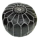 ALMADIH Pouffe negro otomano bordado Cojín de cuero genuino Taburete - 100% hecha a mano - 50x35 cm...
