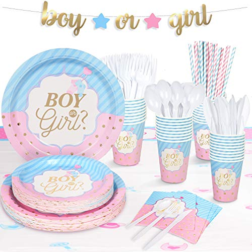 "Decorlife 194PCS Gender Reveal Party Supplies - Baby Shower Decorations - Tableware Kit with Boy or Girl Banner, 54"" x 108"" Tablecloth, Party Plates and Napkins Set, Cups, Forks, Spoons, Knives, Straws - Serves 24"