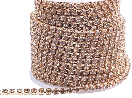 KAOYOO 10 Yards 4MM Crystal Rhinestone Close Chain Trim for Sewing Crafts,DIY Decoration