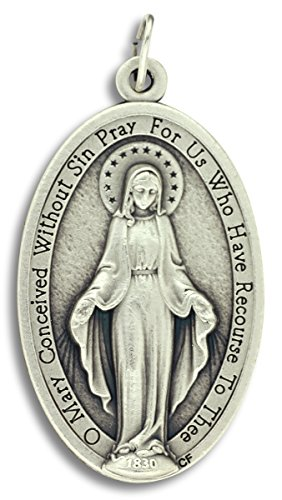 Mary Miraculous Medal Pendant Charm Extra Large (XL) -  1.75