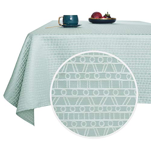 Deconovo Manteles Mesa De Salon Impermeable Moderno Jacquard Mantel Rectangular 140 x 200 cm Verde Gris