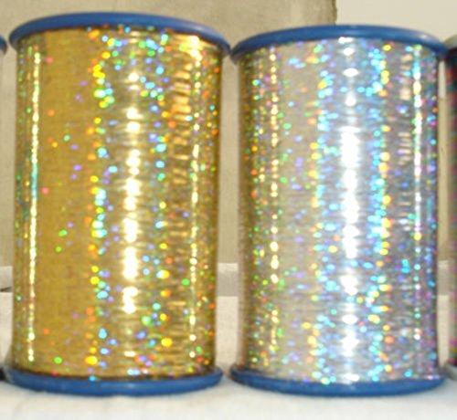 2x Spulen von Holografische Lurex Premium Fäden 1Gold + 1Silber 3000Meter je Spule Größe 1/69