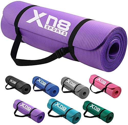 Xn8 Yoga Mat 1/2-Inch Extra Thick All-Purpose Non Slip High Density Anti-Tear Exercise Yoga Mats with Carrying Strap (Purple)