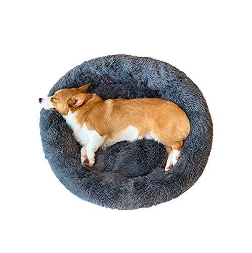 Monba Deluxe Flauschiges Extra Großes Hundebett Sofa Rundes Kissen Katzensofa Kissen in Doughnut-Form Pet Bett für Große und Extra Große Hunde-100cm-Darkgray