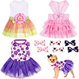 3 Pieces Dresses for Dogs Dog Dress Cute Pet Clothing and 6 Pieces Dog Hair Bow, Lace Tutu Skirt Doggie Dress Tutu Dog Dress for Puppy Dogs and Cats on Wedding Holiday New Year Spring Summer