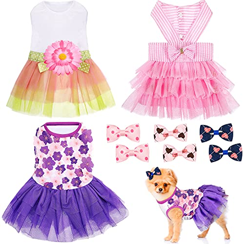 3 Pieces Dresses for Dogs Dog Dress Cute Pet Clothing and 6 Pieces Dog Hair Bow  Lace Tutu Skirt Doggie Dress Tutu Dog Dress for Puppy Dogs and Cats on Wedding Holiday New Year Spring Summer