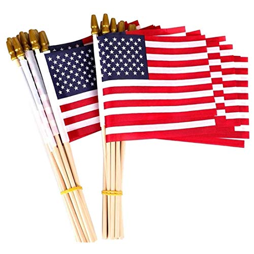 25-Pack Small American Flags on Stick 5x8 Inch, Mini American US Flags/ American Hand Held Stick Flags Spear Top (25 Pack)