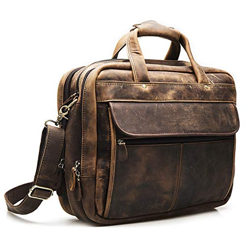 Le'aokuu Leather Mens Business Travel Laptop Case Best Portfolio Briefcase Handles Organizer Shoulder Strap Messenger Bag (Y B1001 A Brown)