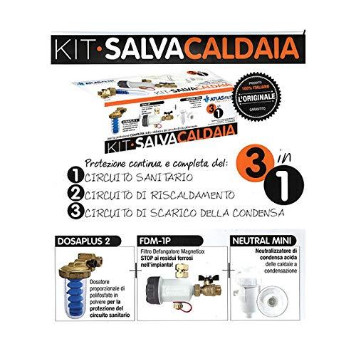 Kit Salva Caldaia Atlas Filtri 3 in 1 - contiene: 1 Defangatore Magnetico + 1 Neutralizzatore Condensa Acida + 1 Dosatore Decalcificatore a sali polifosfati