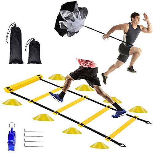 Herefun Escalera de Entrenamiento, 6M Escalera de Agilidad, Kit Entrenamiento Velocidad, Escalera de Velocidad con Paracaídas de Resistencia, Escalera de Coordinación para Fútbol, Fitness, Deportes
