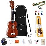 ADM Soprano Ukulele for Beginners 21 Inch Hawaiian Wood Ukelele Kit for Kids Adults Students Starter...