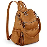 UTO Women Backpack Purse PU Washed Leather Convertible Ladies Rucksack Tassel Zipper Pocket Shoulder Bag Ochre
