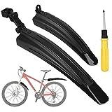 XCOZU Fahrrad Schutzblech Set, 2-Teilig Universal Verdicken Fahrrad Schutzbleche Mountainbike Vorne und Hinten, Verstellbarer Kotflügel Set für MTB Mountain Rennrad, Fahrradschutzblech Schwarz