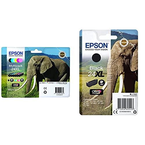 Epson 935863 Kit de 6 Cartuchos inyectables, 55.7 ml, 6 Colores + C13T24314022 Cartucho de Tinta, XL, Color Negro