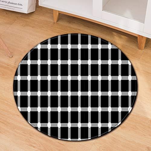 Geometrico Visione Astratta Tappeto Casa Computer Sedia Sedia da Ufficio Motivo A Strisce Tappetino Rotondo Tappetino in Poliestere Lavato Ottomano