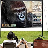 Upgraded Thicken Iron Projector Screen with Stand 150 inch - Portable Projection Screen 16:10 HD - Rear Front Projections Movies Screen for Indoor Outdoor Home Theater Backyard Cinema Trave