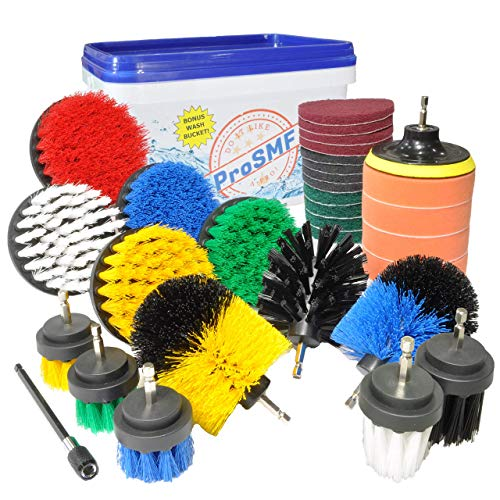 ProSMF Drill Brush - Ultimate All Purpose Cleaner - Drill Brush Set - Power Scrubber Cleaning Brush - Bathroom - Kitchen - Rims - Grills - Bird Bath - Automotive - Car Wash Kit - Scrub Pads & Sponge