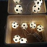 ワールドカップサッカーLEDモデルライトストリングクリスマスデコレーションロシアサッカーライトストリングLEDサッカーバッテリーライト,32.8ft80 lights