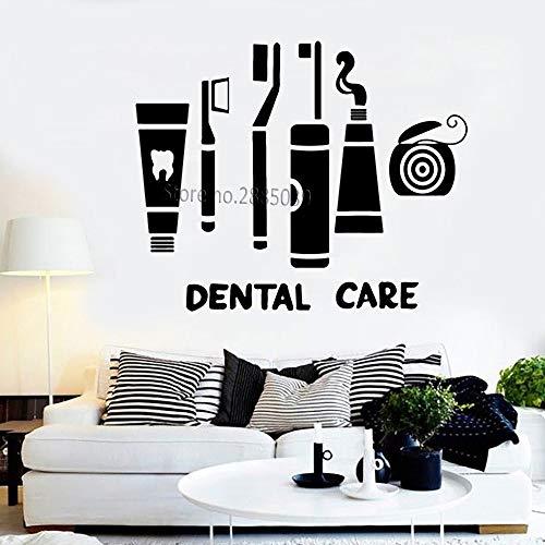 supmsds Zahnpflege Anzug Vinyl Aufkleber Wandaufkleber Klinik Zahnarzt Zahnbürste Zahnseide Badezimmer Dekor wasserdichte Kunst Dekoration L124X100CM