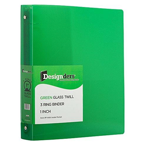 JAM PAPER Plastic 1 inch Binder - Green 3 Ring Binder - Sold Individually