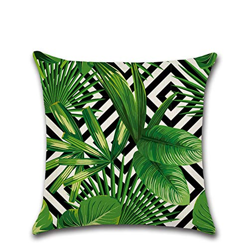 Suneast Tropical Green Leaves Cushion Cover Plant Flower Palm Leaf Decorative Throw Pillow Case Covers Square Pillowcase for Home Sofa Couch Bed Living Room Car Decor - 45 * 45cm - Style 1