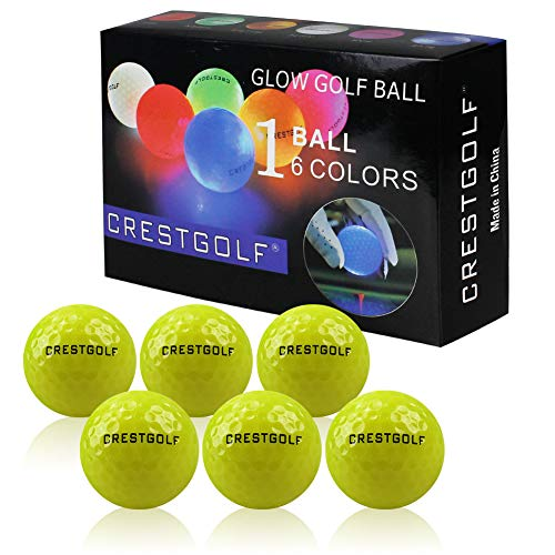 Crestgolf 6 Stück LED Light Up Golfbälle Nachtgolfball Offizielle Größe Glow In Dark Perfekt für Golf Long Distance Shooting (orange) Neu