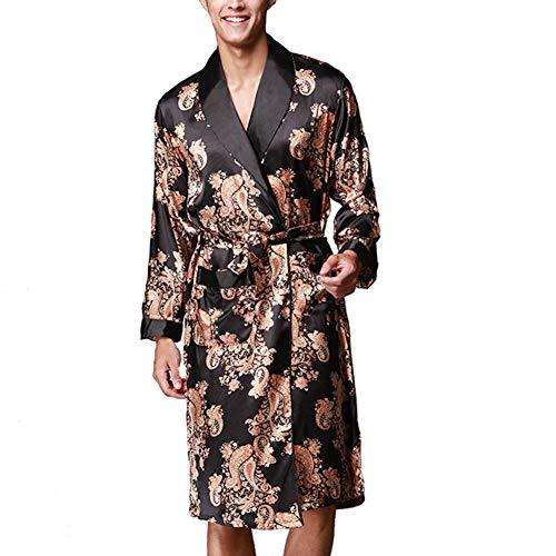 KKCD Herren-Roben Plus Size Bademäntel in Pyjamas Imitate Seidenen Morgenmantel Perfekt Für Pool Spa Bad Andbridesmaid Bride Hochzeit,C,XL